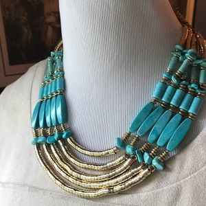 Chico's Turquoise & Gold Statement Necklace